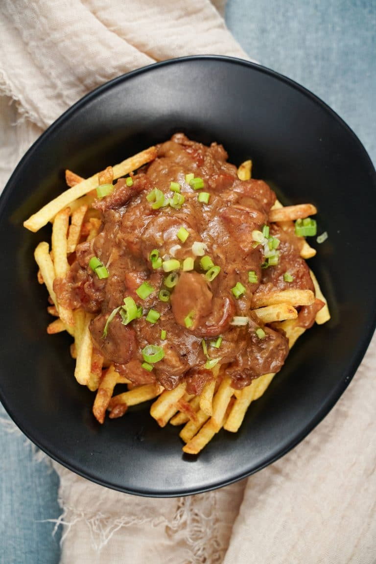 Easy Chicken Sausage Gumbo Topped Fries